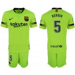 Youth 2018/19 Barcelona #5 SERGIO Away Light Yellow/Green Jersey