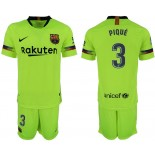 Youth 2018/19 Barcelona #3 PIQUE Away Light Yellow/Green Jersey