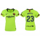 Women 2018/19 Barcelona #23 UMTITI Away Authentic Light Yellow/Green Jersey