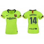 Women 2018/19 Barcelona #14 CRUYFF Away Authentic Light Yellow/Green Jersey