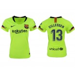 Women 2018/19 Barcelona #13 CILLESSEN Away Authentic Light Yellow/Green Jersey
