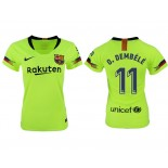 Women 2018/19 Barcelona #11 O. DEMBELE Away Authentic Light Yellow/Green Jersey