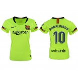 Women 2018/19 Barcelona #10 RONALDINHO Away Authentic Light Yellow/Green Jersey