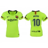 Women 2018/19 Barcelona #10 MESSI Away Authentic Light Yellow/Green Jersey