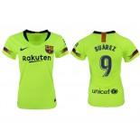 Women 2018/19 Barcelona #9 SUAREZ Away Replica Light Yellow/Green Jersey