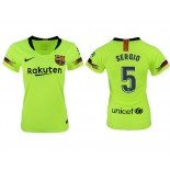 Women 2018/19 Barcelona #5 SERGIO Away Authentic Light Yellow/Green Jersey