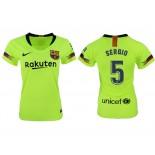 Women 2018/19 Barcelona #5 SERGIO Away Replica Light Yellow/Green Jersey