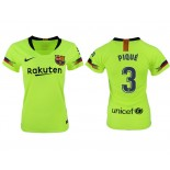 Women 2018/19 Barcelona #3 PIQUE Away Authentic Light Yellow/Green Jersey