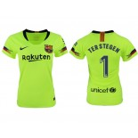 Women 2018/19 Barcelona #1 TER STEGEN Away Authentic Light Yellow/Green Jersey