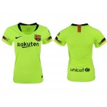 Women 2018/19 Barcelona Away Authentic Light Yellow/Green Jersey
