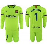 2018/19 Barcelona #1 TER STEGEN Away Long Sleeve Light Yellow/Green Jersey