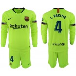 2018/19 Barcelona #4 I. RAKITIC Away Long Sleeve Light Yellow/Green Jersey