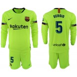 2018/19 Barcelona #5 SERGIO Away Long Sleeve Light Yellow/Green Jersey