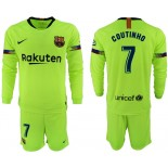 2018/19 Barcelona #7 COUTINHO Away Long Sleeve Light Yellow/Green Jersey