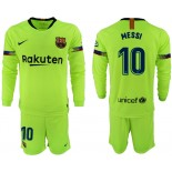 2018/19 Barcelona #10 MESSI Away Long Sleeve Light Yellow/Green Jersey