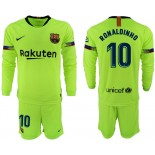 2018/19 Barcelona #10 RONALDINHO Away Long Sleeve Light Yellow/Green Jersey