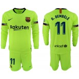2018/19 Barcelona #11 O. DEMBELE Away Long Sleeve Light Yellow/Green Jersey