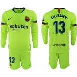 2018/19 Barcelona #13 CILLESSEN Away Long Sleeve Light Yellow/Green Jersey