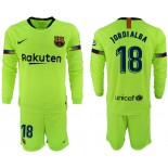 2018/19 Barcelona #18 JORDI ALBA Away Long Sleeve Light Yellow/Green Jersey