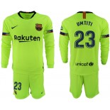 2018/19 Barcelona #23 UMTITI Away Long Sleeve Light Yellow/Green Jersey