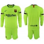 2018/19 Barcelona Away Long Sleeve Light Yellow/Green Jersey