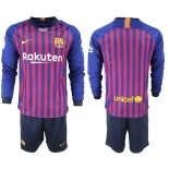 2018/19 Barcelona Home Long Sleeve Blue & Red Stripes Jersey