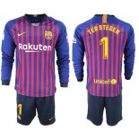 2018/19 Barcelona #1 TER STEGEN Home Long Sleeve Blue & Red Stripes Jersey