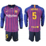 2018/19 Barcelona #5 SERGIO Home Long Sleeve Blue & Red Stripes Jersey