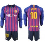 2018/19 Barcelona #10 MESSI Home Long Sleeve Blue & Red Stripes Jersey