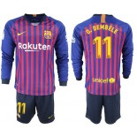 2018/19 Barcelona #11 O. DEMBELE Home Long Sleeve Blue & Red Stripes Jersey