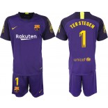 2018/19 Barcelona #1 TER STEGEN Purple Goalkeeper Short Shirt Jersey