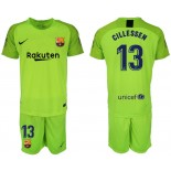 2018/19 Barcelona #13 CILLESSEN Fluorescent Goalkeeper Short Shirt Green Jersey