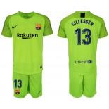 2018/19 Barcelona #13 CILLESSEN Fluorescent Goalkeeper Short Shirt Green Jersey