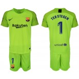 2018/19 Barcelona #1 TER STEGEN Fluorescent Goalkeeper Short Shirt Green Jersey