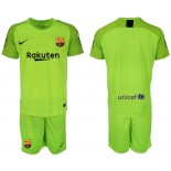 2018/19 Barcelona Fluorescent Goalkeeper Short Shirt Green