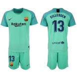 2018/19 Barcelona #13 CILLESSEN Goalkeeper Short Shirt Green Jersey