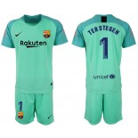 2018/19 Barcelona #1 TER STEGEN Goalkeeper Short Shirt Green Jersey