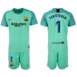 2018/19 Barcelona #1 TER STEGEN Goalkeeper Short Shirt Green Jersey