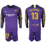 2018/19 Barcelona #13 CILLESSEN Goalkeeper Long Sleeve Purple Jersey