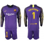 2018/19 Barcelona #1 TER STEGEN Goalkeeper Long Sleeve Purple Jersey