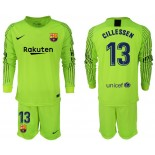 2018/19 Barcelona #13 CILLESSEN Goalkeeper Long Sleeve Fluorescent Green Jersey