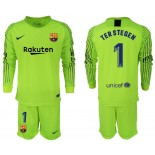 2018/19 Barcelona #1 TER STEGEN Goalkeeper Long Sleeve Fluorescent Green Jersey