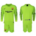 2018/19 Barcelona Goalkeeper Long Sleeve Fluorescent Green Jersey