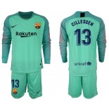 2018/19 Barcelona #13 CILLESSEN Goalkeeper Long Sleeve Green Jersey