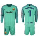 2018/19 Barcelona #1 TER STEGEN Goalkeeper Long Sleeve Green Jersey