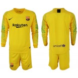 2018/19 Barcelona Goalkeeper Long Sleeve Yellow Jersey