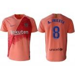 2018/19 Barcelona Third #8 Andres Iniesta Pink Jersey