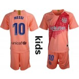 Youth Barcelona 2018/19 Third #10 Lionel Messi Pink Jersey