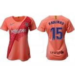 Women's 2018/19 Barcelona Third #15 Paulinho Pink Jersey