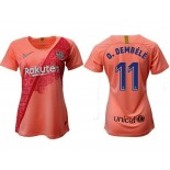 Women's 2018/19 Barcelona Third #11 Ousmane Dembele Pink Jersey